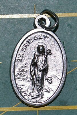 SAINT BRIDGIT Medal Pendant, SILVER TONE, 22mm X 15mm, MADE IN ITALY