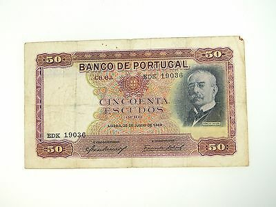1949 Portugal $50 Ch6A 28 Junho P154 World Currency Banknote
