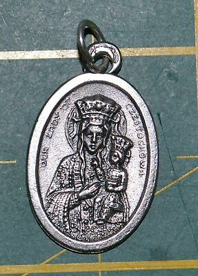 OUR LADY OF CZESTOCKWA Medal Pendant, SILVER TONE, 22mm X 15mm, MADE IN ITALY