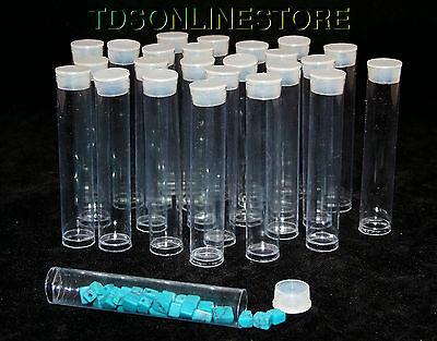Package of 100 Round Clear Plastic Storage Tubes 3 Inch Long