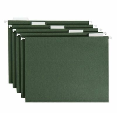 Smead 1 / 5 Tabs Hanging File Folders Cut Letter Size Standard Green 50 Ct