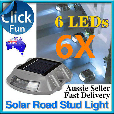 6X Solar Power 6 LED Outdoor Garden Driveway Path Light Road Stud Security Lamp