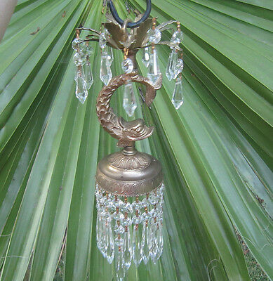 1o4 Vintage Dolphin Fish Serpent Hanging lamp Chandelier gilt Brass pl Nautical