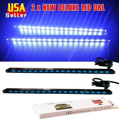 2x NEW Ultra Blue DELUXE 5630 18-SMD LED Light Car COB DRL Fog Driving Lamp