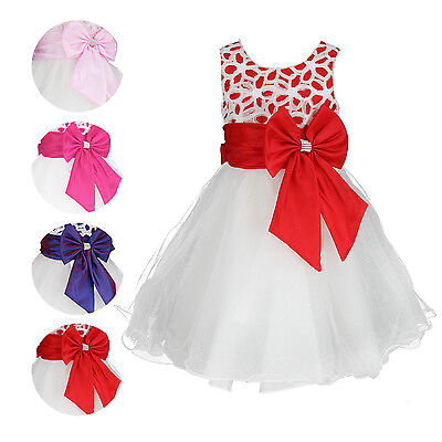 Girls Embroidered Flower Sleeveless Formal Party Dress Wedding Bridesmaid