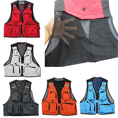 Mens Utility Multi-Pocket Zip Waistcoat Hunting Fishing Shooting Fly Mesh Vest