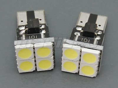2 Bombillas LED coche moto canbus T10 W5W 4 smd 5050 frontales blanco - car