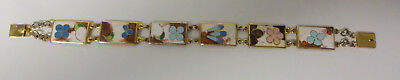 Vintage By ROBERT KUO Signed Taiwan Asian Enamel Cloisonne Panel Bracelet