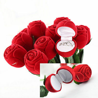 Wedding Valentine Day Rose Flower Ring Earring Necklace Jewelry Display Gift Box