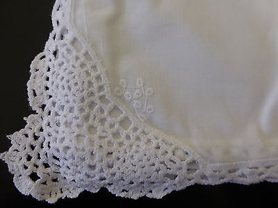 Crochet edged white cotton handkerchief with embroidery - brand new