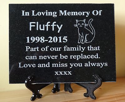 Personalised Engraved Pet Dog/Cat Natural Granite Memorial Plaque Grave Marker