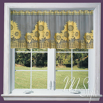 "Kitchen Cafe Net Curtain Sunflowers 19"" (50 cm) OR 27"" (70 cm) Sold by the metre"
