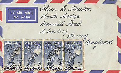 Stamps Australia 1957 usage of 7&1/2d blue strip of torch issue on airmail cover