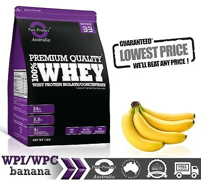 1Kg  - Whey Protein Isolate / Concentrate - Banana -  Wpi Wpc  Powder