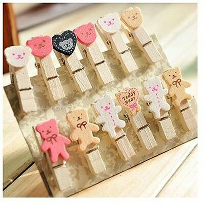Set of 12 Cute little bear Wooden Pegs Paper Photo Clip with linen string