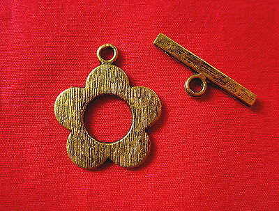 5 Antique Gold Flower Toggle Clasps 24x20mm #2644 Combine Post-See Listing