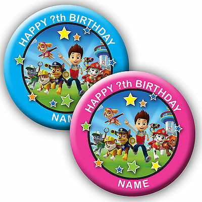 PERSONALISED PAW PATROL BIRTHDAY BADGES/FRIDGE MAGNET/MIRRORS - 58MM or 77MM