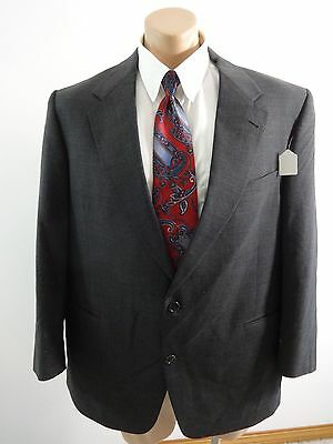 Palm Beach Mens Gray Wool Two Button Suit Jacket Sport Coat Size 44 R