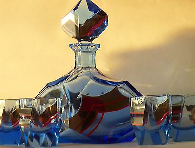 Antique Bohemia Blue Silver Enamel Glass Decanter set with Tumblers Cups