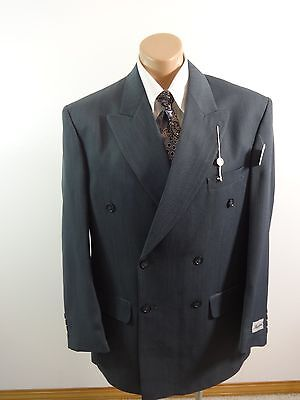 New Mazzoni Mens Gray Polyester Striated Suit Jacket Sport Coat Size 42R