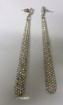 Stunning Retro Collection Haute Couture Runway AB Crystals Drop Dangle Earrings