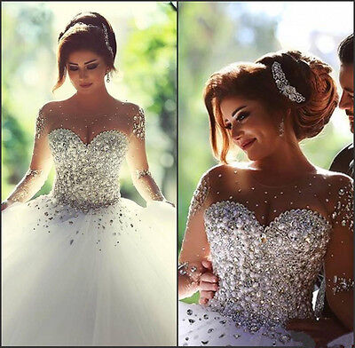 Long Sleeve Wedding Dresses with Rhinestones Spring Formal Bridal Gown Crystals
