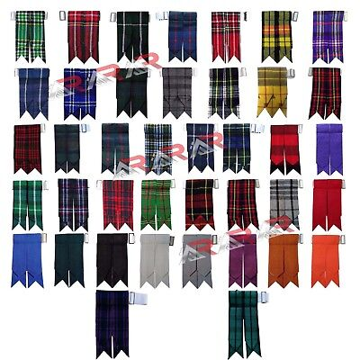 Kilt Flashes Scottish Royal Stewart Tartan Solid Plain Black Multi Colors