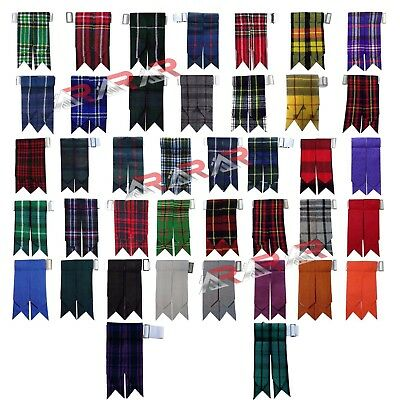 New Brand AAR Royal Stewart Tartan Solid Plain Black Kilt Flashes Multi Colors
