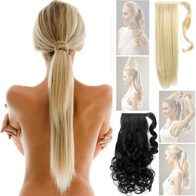 Wrap Around Clip In Ponytail Hair Extensions straight curly Pony tail human new