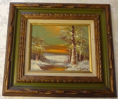 Painted Nature Scene Signed Green Orange and White Wood Frame