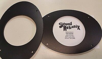 """PVC Plastic Speaker / Spacer Rings, 6x9"""" to 6.5"""" SMALL Adapters 6MM One Pair"""