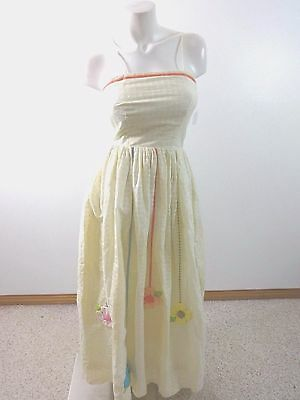 Catherine Carr Womens Cream Ribbon Embellished 70'S Vintage Sun Dress Size 8