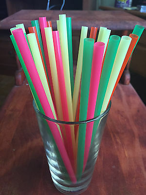 "Jumbo Neon Colored Malt Shake Smoothie Straws 8"" Long X 5/16"" Plastic 30Ct New"