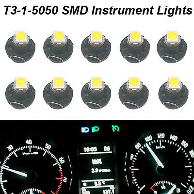 10pcs Pure White 5050 SMD T3 Neo Wedge 1 LED Cluster Instrument Dashboard Lights