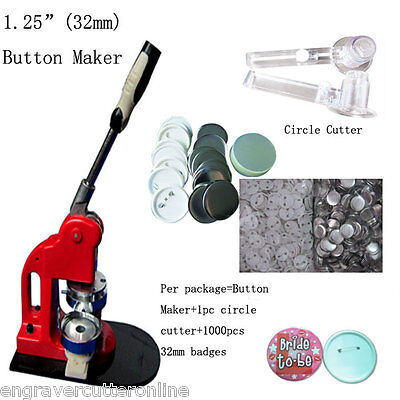 "1-1/4"" 32mm Badge Maker Machine Button Press+1000 Button Supplies+Circle Cutter"