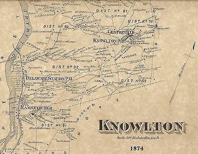 Knowlton Columbia Hainesburg Polkville NJ 1874 Maps with Homeowners Names Shown