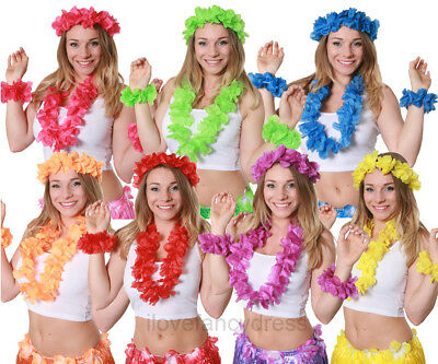 4 Piece Hawaiian Lei Garland Set Flower Necklace Headband Bracelets Fancy Dress