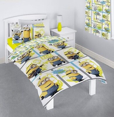 Minions 'Let'S Try Harder' Rotary Single Bed Duvet Quilt Cover Set Brand New