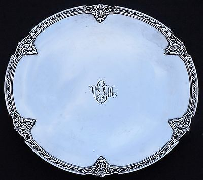 "Antique Art Nouveau Shreve & Co Sterling Silver 12"" Pedestal Plate Platter 11089"