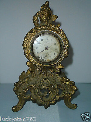 Antique New Haven  Art Nouveau Ornate Gold Iron Shelf Mantle Clock