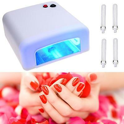 36W Art Acrylic UV Nail Lamp Curing Light Gel Polish Dryer With Timer + 4 Bulbs
