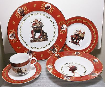 Franklin Mint 20 Pc Norman Rockwell Christmas Dishes China 4 5-Place Settings