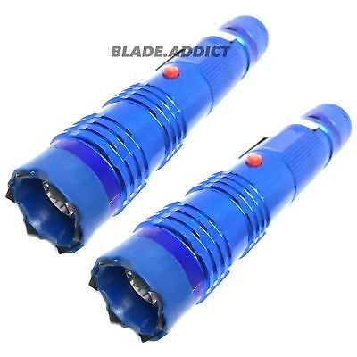2PC METAL MILITARY Stun Gun 260 Million Volt Rechargeable LED Flashlight SET NEW