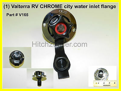 RV Valterra CHROME city water fill inlet flange 2-3/4 with check valve trailer