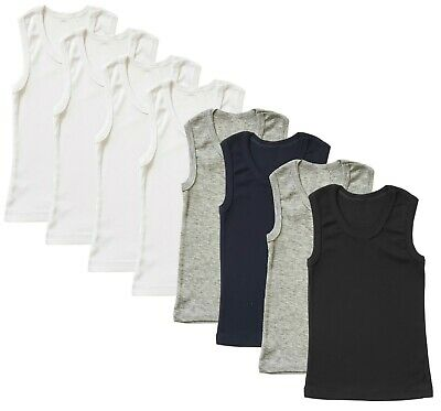 3-Pack Undershirt Boys Toddler Baby Cotton Tank Top Solid Plain Blank Ribbed Lot