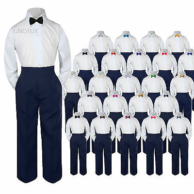 3pc Shirt Navy Pants Bow Tie Set Baby Toddler Kids Boys Wedding Formal Suits S-7