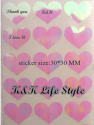30* DIY lovely pink rainbow heart stickers, can be personalised