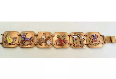 Vintage Copper & Enamel Panel Bracelet Made in Chile Chilean Themed *