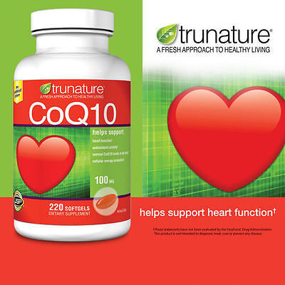 Trunature CoQ10 100mg 220 Softgels Coenzyme Q-10 Heart Health Antioxidant