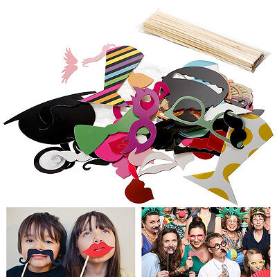 58PCS Party Photo Booth Wedding Props On A Stick Masks Moustache Glasses Frame